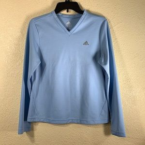 Adidas Top Blue M Activewear V Neck ClimaLite